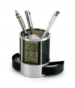 112ff56ca Porta canetas em alumínio plástico com relógio digital